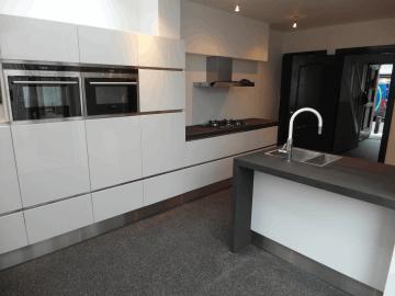 Werkblad keuken new houten kookeiland met betonnen aanrechtblad